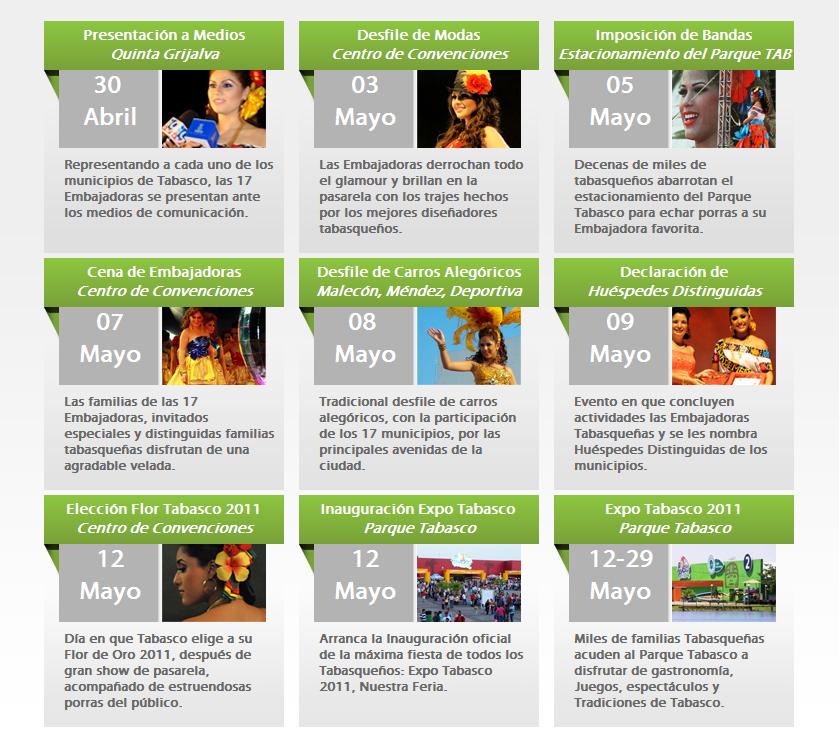 Calendario de Actividades Expo Feria Tabasco 2011