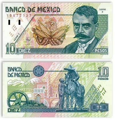 Billete de 10 pesos mexicanos